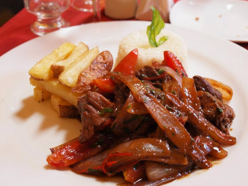 Lomo Saltado, stir fried beef with fries and rice