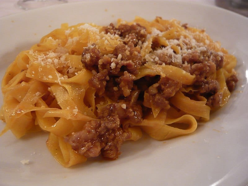 Typical Italian dish of ragu bolognese with tagliatelle