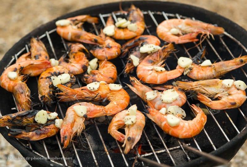 Australian Christmas dinner barbecued shrimp