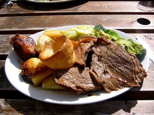 The Sunday roast dinner is one of the most famous, typical British dishes