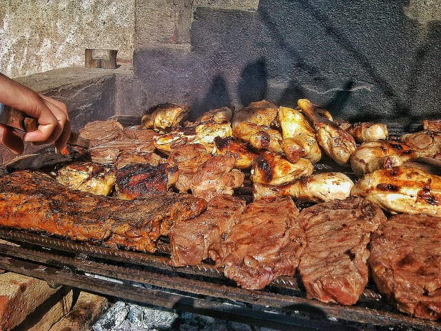 Asado is a traditional Uruguayan meat barbecue