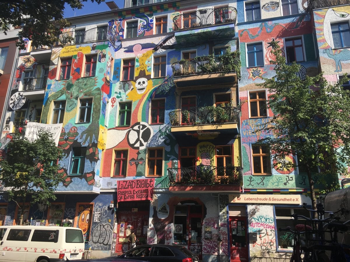 Graffiti on apartment blocks in Friedrichshain Berlin