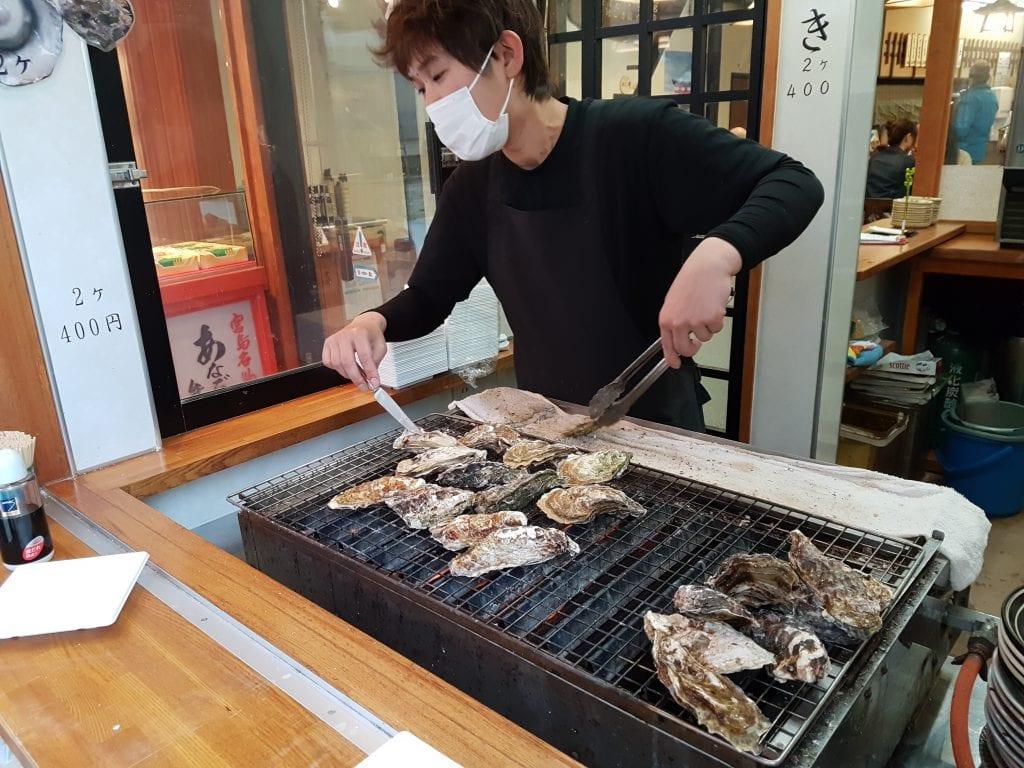 Oysters being prepared on Miyajima Island, Japan