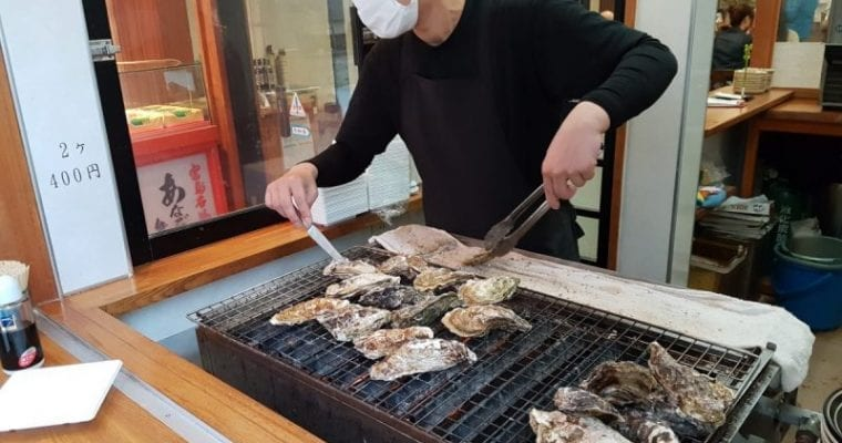Oysters being prepared on Miyajima Island, Japan