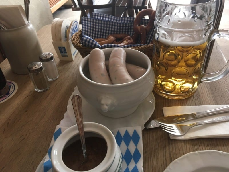 Weisswurst with beer and pretzels