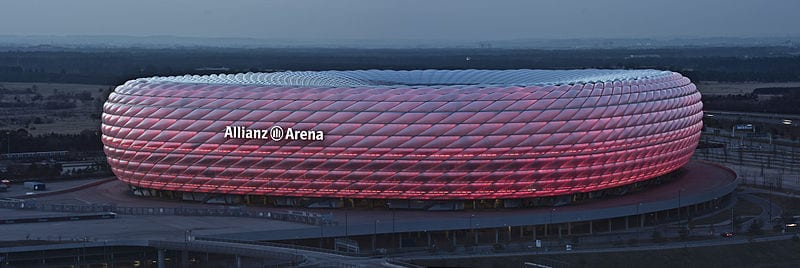 Allianz Arena Lit Up Red