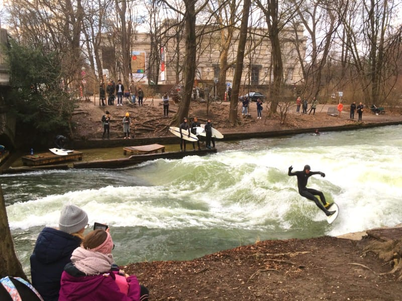 Eisbachwelle River Surfers